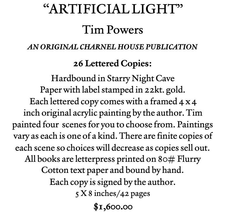 artificial light by Tim Powers lettered edition