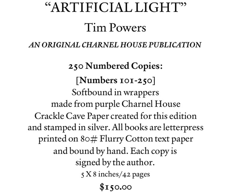 artificial light by Tim Powers - numbered edition softbound